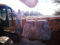 boulder placement for the retaining wall