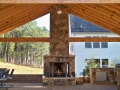 pavilion with 25' tall fieldstone fire place