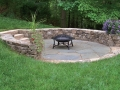 irregular dry laid bluestone flagstone with fieldstone seat wall