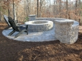 circular paver patio, fire pit and seat wall