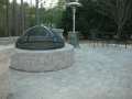 paver patio with segmental seat wall and fire pit