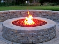 segmental gas fire pit and seat wall